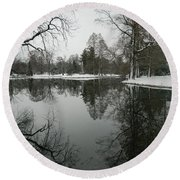 Round Beach Towel featuring the photograph Winter Reflections 2 by Kathy Barney