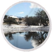Winter Reflections Round Beach Towel by David S Reynolds