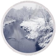Round Beach Towel featuring the photograph Winter River by Liz Leyden