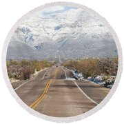 Winter Road Round Beach Towel by David S Reynolds