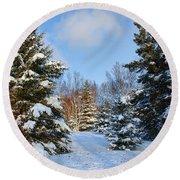 Round Beach Towel featuring the photograph Winter Scenery by Teresa Zieba