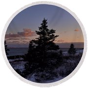 Winter Sentinel Lighthouse Round Beach Towel
