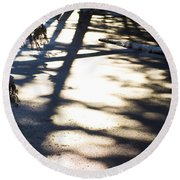 Round Beach Towel featuring the photograph Winter Shadows by Yulia Kazansky