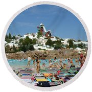 Round Beach Towel featuring the photograph Winter Shore Line by David Nicholls