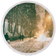 Winter - Snow - Washington Square - New York City Round Beach Towel