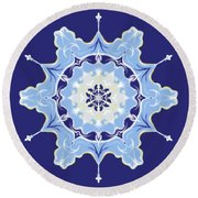 Winter Snowflake Abstract Round Beach Towel
