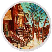 Round Beach Towel featuring the painting Winter Staircase by Carole Spandau