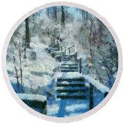 Winter Stairway Round Beach Towel