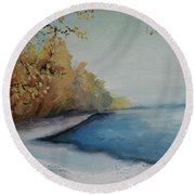 Winter Starts At Kymi River Round Beach Towel
