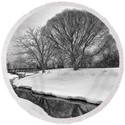 Winter Stream Round Beach Towel