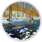 Winter Stream Southeastern Pennsylvania Poster Image Round Beach Towel