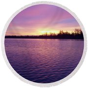 Winter Sunrise Round Beach Towel by John Telfer