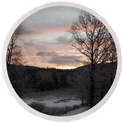 Round Beach Towel featuring the photograph Winter Sunrise by Mim White