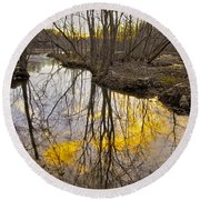 Round Beach Towel featuring the photograph Winter Sunset At Williston Mill by Brian Wallace