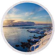 Winter Sunset In Iceland Round Beach Towel