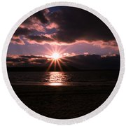 Round Beach Towel featuring the photograph Winter Sunset by Karen Silvestri