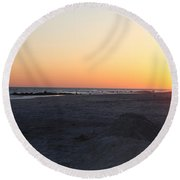 Winter Sunset On Long Beach Round Beach Towel