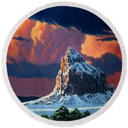 Winter Sunset Over Shiprock Round Beach Towel
