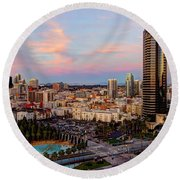 Round Beach Towel featuring the photograph Winter Sunset San Diego by Heidi Smith