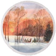 A Hedgerow Sunset Round Beach Towel by Carol Wisniewski