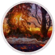 Winter Sunset Round Beach Towel