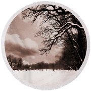 Round Beach Towel featuring the photograph Winter Tale by Nina Ficur Feenan