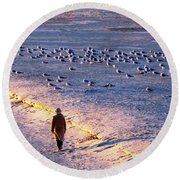 Round Beach Towel featuring the photograph Winter Time At The Beach by Cynthia Guinn