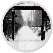 Round Beach Towel featuring the photograph Winter Tracks by Aaron Berg