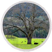 Winter Tree With Cows By The Umpqua River Round Beach Towel