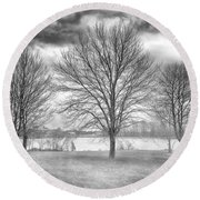 Winter Trees Round Beach Towel by Howard Salmon
