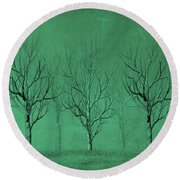 Round Beach Towel featuring the digital art Winter Trees In The Mist by David Dehner