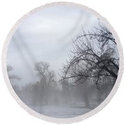 Round Beach Towel featuring the photograph Winter Trees With Mist by Jeannie Rhode