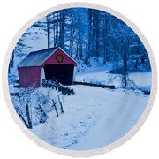 winter Vermont covered bridge Round Beach Towel