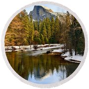 Winter View Of Half Dome In Yosemite National Park. Round Beach Towel
