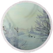 Winter Visitors Round Beach Towel