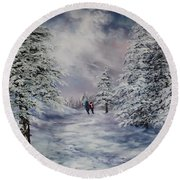 Winter Walk On Cannock Chase Round Beach Towel by Jean Walker