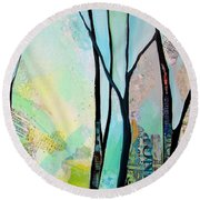 Winter Wanderings I Round Beach Towel
