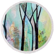 Winter Wanderings II Round Beach Towel