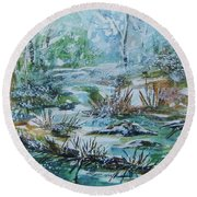 Round Beach Towel featuring the painting Winter Whispers On Catskill Creek by Ellen Levinson
