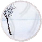 Winter Whiteout Round Beach Towel