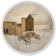 Round Beach Towel featuring the painting Winter Wine by Alan Lakin