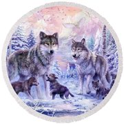 Winter Wolf Family  Round Beach Towel