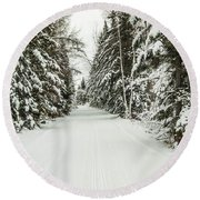 Winter Wonder Land Round Beach Towel by Patrick Shupert
