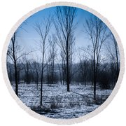 Round Beach Towel featuring the photograph Winter Wonderland by Bianca Nadeau