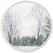 Winter Wonderland Usa Round Beach Towel