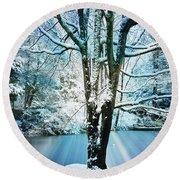 Round Beach Towel featuring the photograph Winter Wonderland by Judy Palkimas