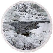 Round Beach Towel featuring the photograph Vermillion Falls Winter Wonderland by Patti Deters