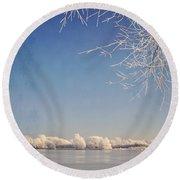 Winter Wonderland With Snowflakes Decoration. Round Beach Towel