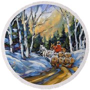 Winter Wood Horses By Prankearts Round Beach Towel