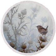 Winter Wren Round Beach Towel